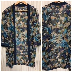 Sweaters - Beautiful Navy and Blue Floral Kimono